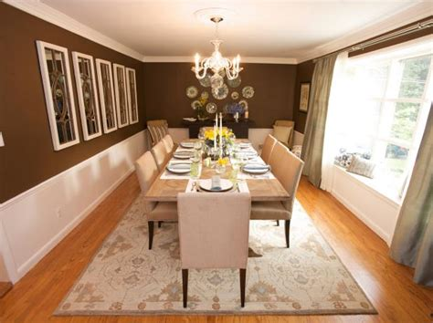 Brown Traditional Dining Room With White Wainscoting | HGTV